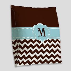 Brown Blue Chevron Monogram Burlap Throw Pillow