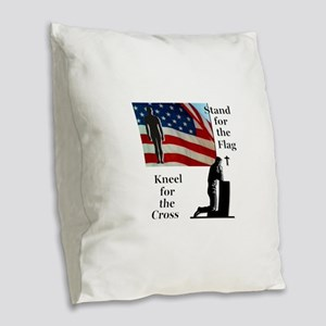 Stand for the Flag Burlap Throw Pillow