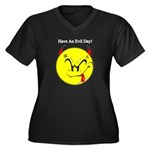 Satanic Smiley Face Women's Plus Size V-Neck Dark