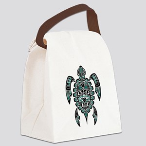 Teal Blue and Black Haida Sea Turtle Canvas Lunch