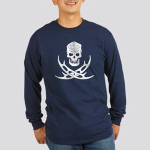 Klingon Skull and Bat'let Long Sleeve Dark T-Shirt
