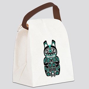 Teal Blue and Black Haida Spirit Bear Canvas Lunch