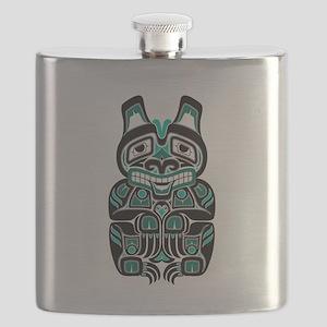 Teal Blue and Black Haida Spirit Bear Flask