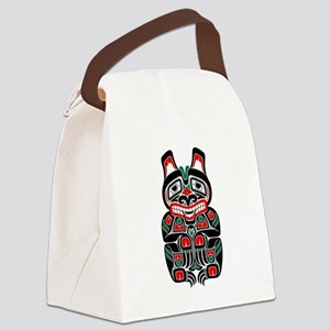 Red Green and Black Haida Spirit Bear Canvas Lunch