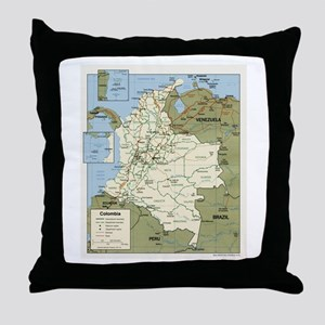 Politic map Colombia Throw Pillow