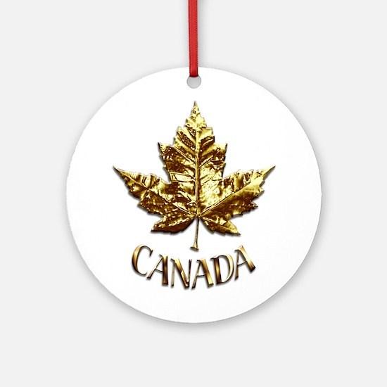 Gold Canada Souvenir Ornament (round)