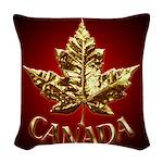Gold Canada Souvenir Woven Throw Pillow