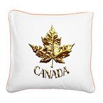 Gold Canada Souvenir Square Canvas Pillow