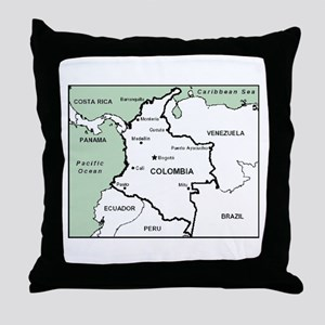 Mapa de Colombia Throw Pillow