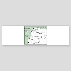 Mapa de Colombia Bumper Sticker