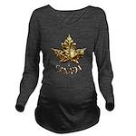 Gold Canada Souvenir Long Sleeve Maternity T-Shirt