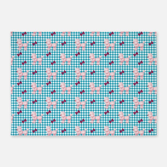 Pink Poodles And Bows 5'x7'area Rug