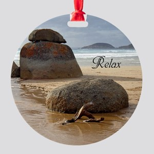 Customizable Zen Beach Rocks Round Ornament