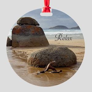 Customizable Zen Beach Rocks Round Ornament