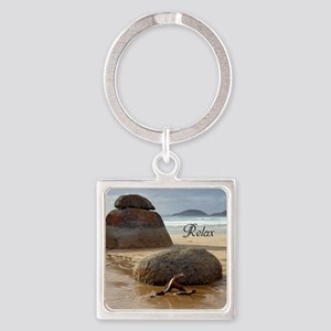 Customizable Zen Beach Rocks Square Keychain