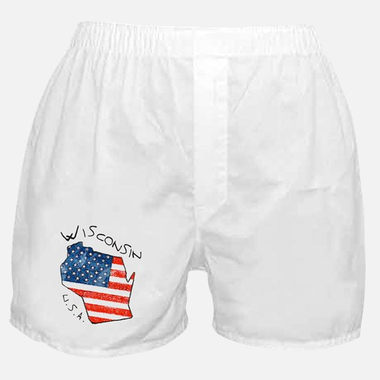 Grungy American flag inside Wisconsin State Boxer