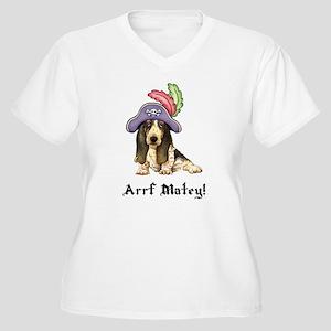 Basset Pirate Women's Plus Size V-Neck T-Shirt
