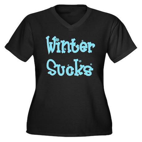 Winter Sucks Women's Plus Size V-Neck Dark T-Shirt