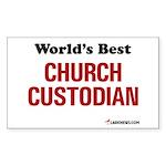 World's Best Church Custodian Sticker (Rectangular