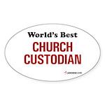 World's Best Church Custodian Oval Sticker
