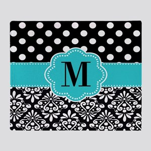 Black Blue Dots Damask Monogram Throw Blanket