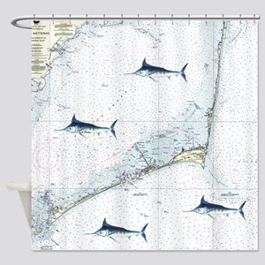 Marlin Chart Hatteras Shower Curtain