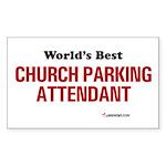 World's Best Church Parking A Sticker (Rectangular