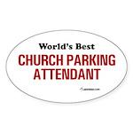 World's Best Church Parking A Oval Sticker