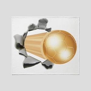 Gold Soccer Ball Throw Blanket