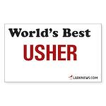 World's Best Usher Rectangle Sticker