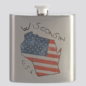Grungy American flag inside Wisconsin State Flask