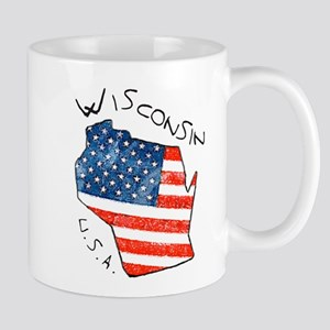 Grungy American flag inside Wisconsin State Mugs