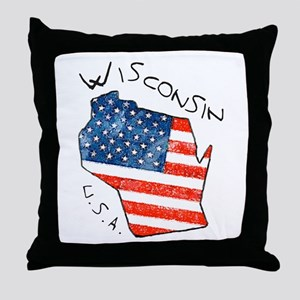 Grungy American flag inside Wisconsin State Throw