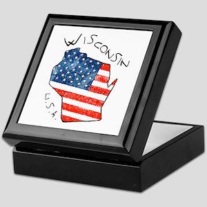 Grungy American flag inside Wisconsin State Keepsa