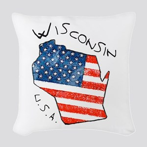 Grungy American flag inside Wisconsin State Woven