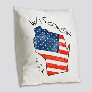 Grungy American flag inside Wisconsin State Burlap