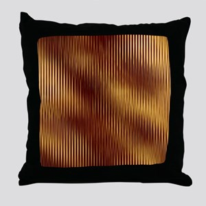 Dark Red And Gold Stripes Throw Pillow
