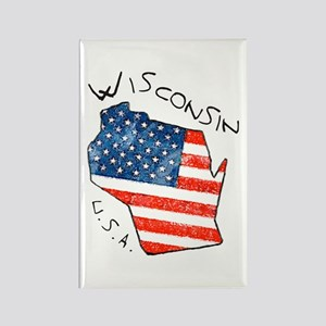 Grungy American flag inside Wisconsin State Magnet