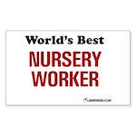 World's Best Nursery Worker Rectangle Sticker