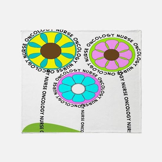 ONCOLOGY NURSE FLOWERS 2 Throw Blanket