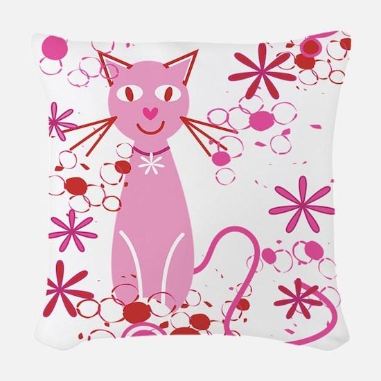 Fancy Pink Cat Woven Throw Pillow