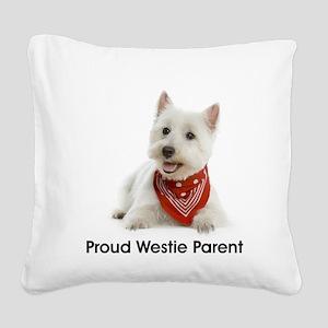 Proud Westie Parent Square Canvas Pillow