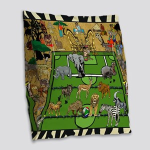 Soccer Safari Burlap Throw Pillow