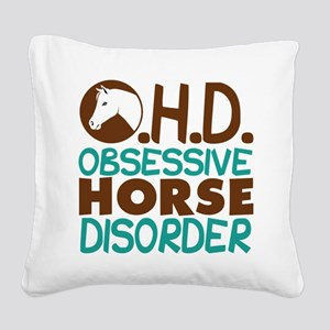 Funny Horse Square Canvas Pillow
