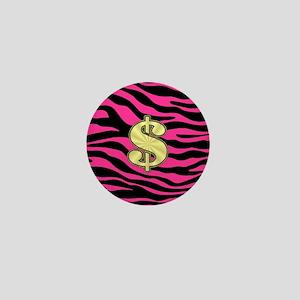 HOT PINK ZEBRA GOLD $ Mini Button