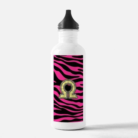 HOT PINK ZEBRA GOLD OMEGA Water Bottle