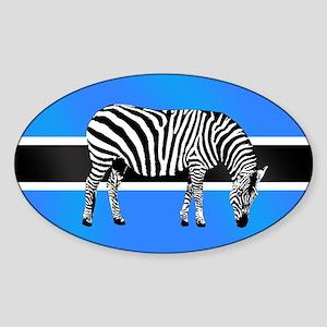 Botswana Zebra Flag Sticker (Oval)