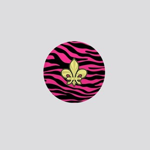 HOT PINK ZEBRA GOLD FLEUR DE LIS Mini Button