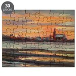 The Church At Sunset Puzzle