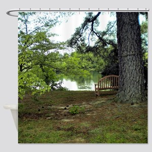 Nature Scene - Bench By Lake Shower Curtain